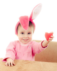 The little girl with pink ears bunny