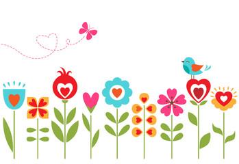 Floral hearts design