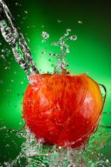 Poster Eclaboussures d eau Fuji Apple Splash