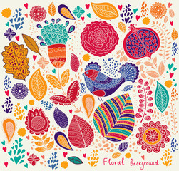 Fototapete - Floral pattern with bird