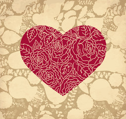 Fototapete - Vector romantic Greeting card with heart