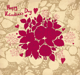 Fototapete - Vector Valentine Greeting card with roses