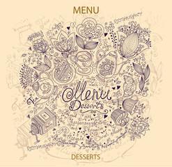 Vintage hand drawn dessert menu