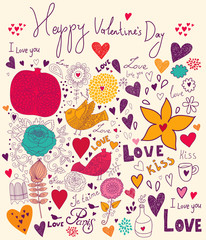 Fototapete - Vector Valentine Greeting card with flowers and birds