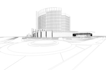 Abstract wireframe of 3D architectural