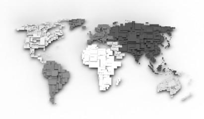 Keuken foto achterwand Wereldkaart World map, cube concept