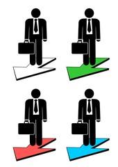 Illustration of business man on arrow .
