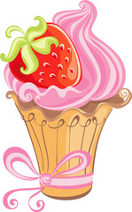 Vector sweet cupcake with strawberry isolated on a white