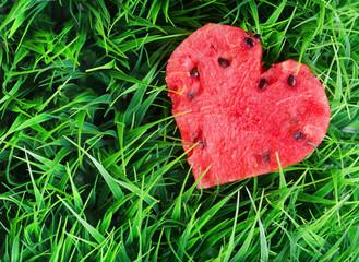 Watermelon heart on green grass. Valentine concept