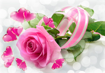 Pink rose and hearts