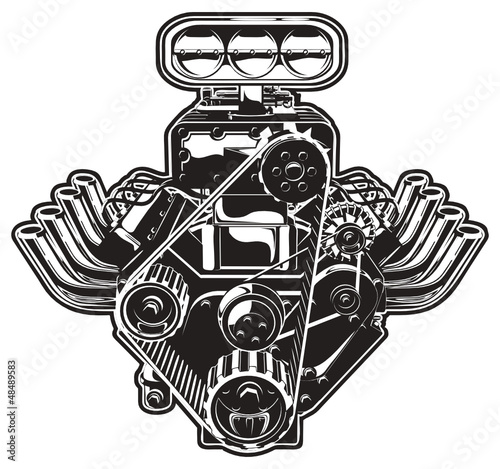 """Big Block Chevy Blower Pistons: """"Vector Cartoon Turbo Engine"""" Stock Image And Royalty-free"""