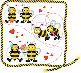 Cute bees in love of a digital collage