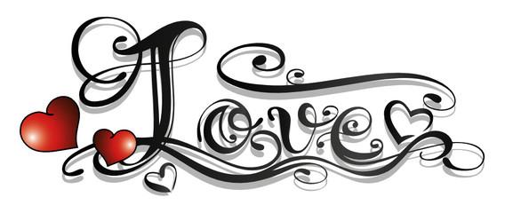Liebe, love, Logo, Schriftzug, Tattoo, Herzen