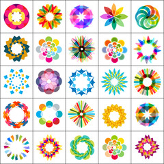 set of 25 colorful design elements, icons