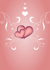 Moderner Liebesgruß mit Ornamenten und Herz
