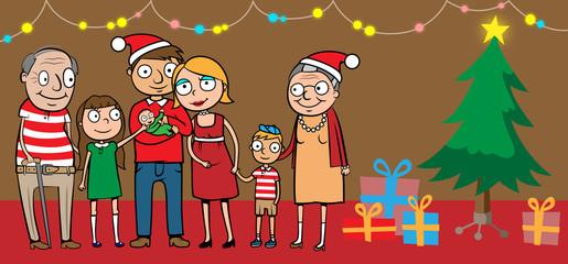 Big happy family by christmas tree