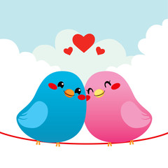 Poster Vogels, bijen Loving Bird Couple
