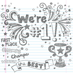 Trophy Winner Champion Sketchy Doodles Vector