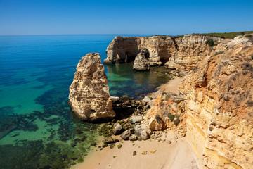 High view of Marinha beach at Lagoa, Algarve, Portugal