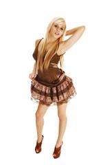 Girl in brown dress.
