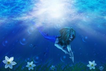 Fotobehang Zeemeermin Mermaid in underwater world