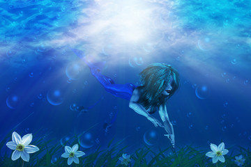 Aluminium Prints Mermaid Mermaid in underwater world
