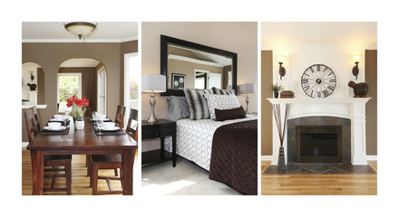 Collage of beautiful interior. Bedroom and dining room.