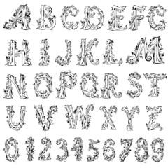 foliage vintage alphabet