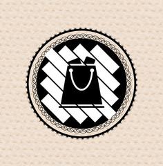 Vector vintage retro badge shopping bag