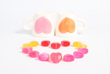 Candy with two cup of  love