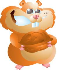 hamster with walnut
