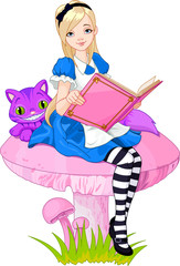 Canvas Prints Magic world Alice holding book