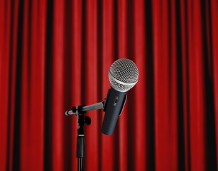 Microphone standing over red curtain