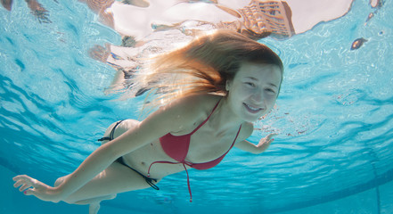Smiling Model Under the water