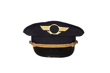 Civil airlines pilot cap isolated on white