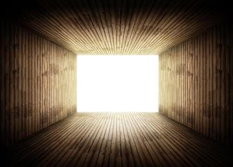 lumière tunnel bois Wall mural