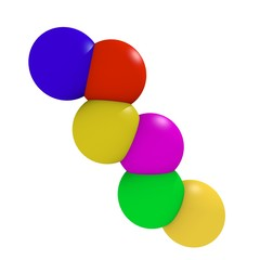 3d coloured intersected balls on white background