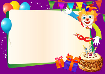 birthday decorative border with cake and clown
