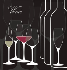 Vector background with wine glasses.