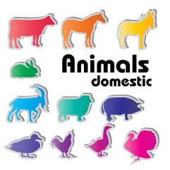 vector domestic animals silhouettes