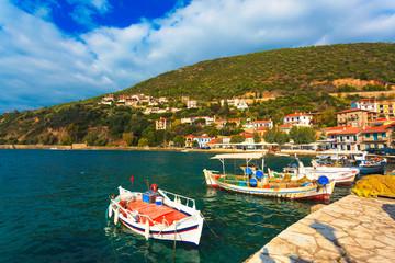 Greece Monastiraki near Nafpactos, boats in port, Central Greece
