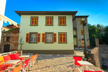 Greece Nafpactos traditional house view located in central Greec