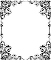 Template frame design for card. Floral pattern.