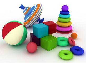3d render illustration of child's toys.