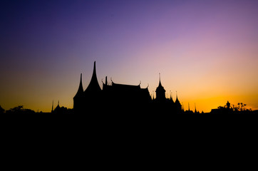 Silhouette of Thai architecture at Bangkok