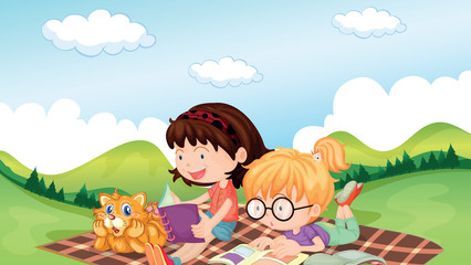 Deurstickers Katten Girls reading with an animal