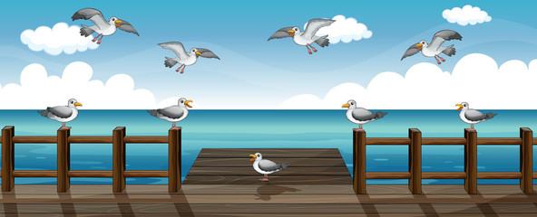 Poster de jardin Oiseaux, Abeilles A flock of birds