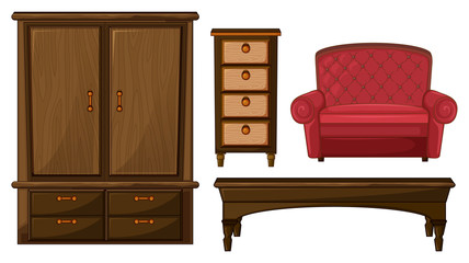 A closet, drawer, table and couch