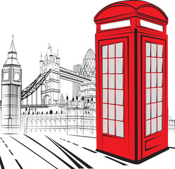 Papiers peints Rouge, noir, blanc Sketch London City