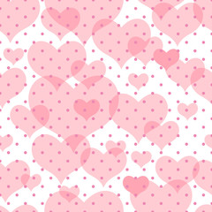 Seamless vector texture with hearts and peas.